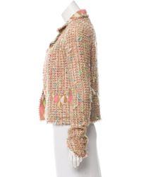 Chanel - Metallic Tweed Open Front Jacket Tan - Lyst