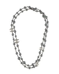 Chanel - Metallic Faux Pearl & Crystal Bead Necklace Silver - Lyst