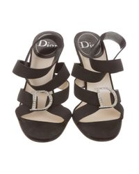 Dior - Black Embellished Ankle Strap Sandals - Lyst