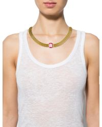Dior - Metallic Crystal Collar Necklace Gold - Lyst