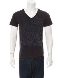 Dries Van Noten | Blue V-neck Velvet-accented T-shirt for Men | Lyst