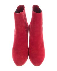 Gianvito Rossi - Red Suede Round-toe Ankle Boots - Lyst