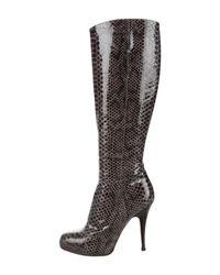 Giuseppe Zanotti - Gray Embossed Knee-high Boots Black - Lyst