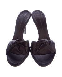 Giuseppe Zanotti - Black Satin Slide Sandals - Lyst