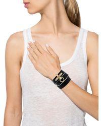 Givenchy - Metallic Leather Wrap Bracelet Black - Lyst