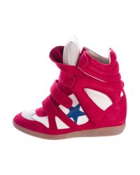 Isabel Marant | Red Beckett Wedge Sneakers | Lyst