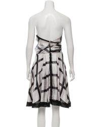 Louis Vuitton - Metallic Silk Strapless Dress Grey - Lyst