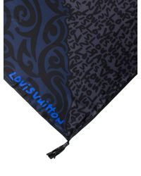 Louis Vuitton - Blue Silk Graffiti Tassel Scarf - Lyst