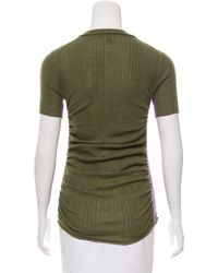Louis Vuitton - Green Rib Knit Short Sleeve Top Olive - Lyst