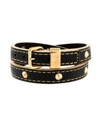 Louis Vuitton - Metallic Studded Suhali Wrap Bracelet Black - Lyst