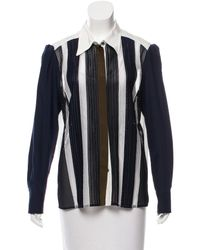 Louis Vuitton | Blue Lace-accented Long Sleeve Top Navy | Lyst
