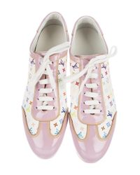 Louis Vuitton - Pink Leather Monogram Sneakers - Lyst