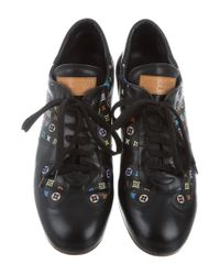 Louis Vuitton - Black Monogram Leather Sneakers - Lyst