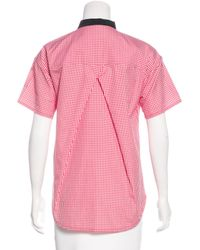 Louis Vuitton - Red Bow-accented Gingham Print Top - Lyst