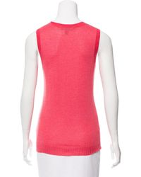 Marc Jacobs | Pink Sleeveless Cashmere Top | Lyst