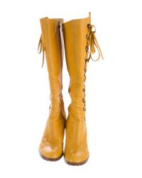 Marc Jacobs | Yellow Leather Lace-up Boots | Lyst