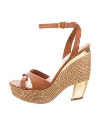 Miu Miu | Metallic Miu Leather Crossover Sandals Cognac | Lyst