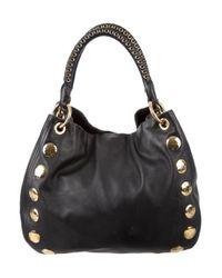 Miu Miu - Metallic Miu Studded Leather Tote Black - Lyst