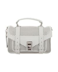 Proenza Schouler | Metallic Perforated Ps1 Tiny Bag White | Lyst
