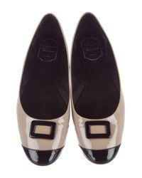 Roger Vivier - Natural Patent Leather Cap-toe Flats Beige - Lyst