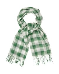 Étoile Isabel Marant - Green Checkered Fringe Scarf - Lyst