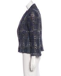 Chanel - Blue Silk-blend Tweed Jacket - Lyst