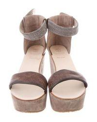 Brunello Cucinelli - Gray Suede Platform Sandals Grey - Lyst