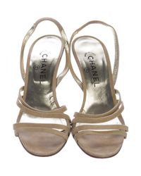 Chanel - Natural Metallic Suede Sandals Tan - Lyst