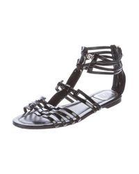 Dior - Black Patent Leather Multistrap Sandals - Lyst
