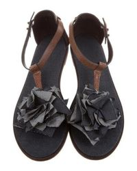 Brunello Cucinelli - Brown Leather Ruffle-trimmed Sandals - Lyst