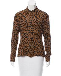 Michael Kors - Brown Silk Button-up Top - Lyst