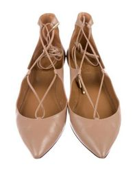 Aquazzura - Natural Christy Leather Flats Tan - Lyst