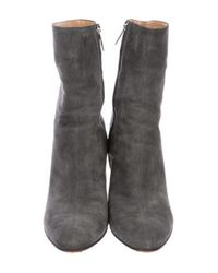 Sergio Rossi - Gray Suede Round-toe Booties - Lyst