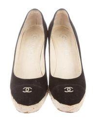 Chanel - Black Suede Cc Wedges - Lyst