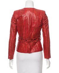 Roberto Cavalli - Red Embossed Leather Jacket - Lyst