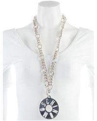 Moschino - Metallic Cutout Logo Pendant Necklace Silver - Lyst