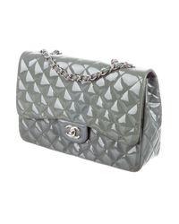 Chanel - Metallic Patent Classic Jumbo Single Flap Bag Grey - Lyst