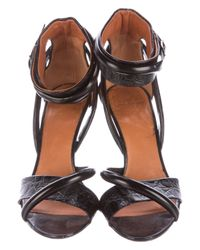 Givenchy - Black Alligator Multistrap Sandals - Lyst