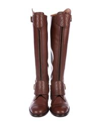 Chanel - Brown Quilted Cc Knee-high Boots - Lyst
