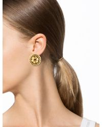 Chanel - Metallic Textured Clip On Earrings Gold - Lyst