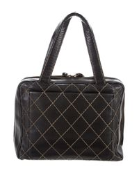 Chanel - Metallic Surpique Bowler Bag Black - Lyst