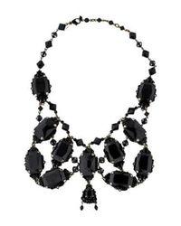 Erickson Beamon - Metallic Crystal Embellished Bib Necklace Silver - Lyst