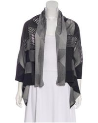 Pleats Please Issey Miyake - Gray Open Knit Long Sleeve Cardigan Grey - Lyst