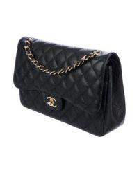 Chanel - Metallic Caviar Classic Jumbo Double Flap Bag Black - Lyst