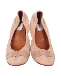 Lanvin - Natural Quilted Leather Flats Neutrals - Lyst