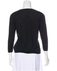 Akris - Black Perforated Silk Sweater - Lyst