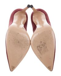 Gianvito Rossi - Red Suede Pointed-toe Pumps Burgundy - Lyst