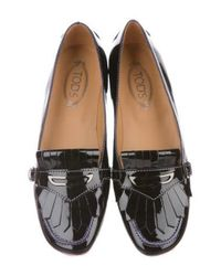 Tod's - Black Kiltie Patent Loafers - Lyst