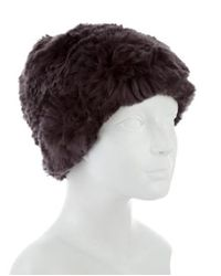 Glamourpuss - Gray Knitted Fur Beanie W/ Tags - Lyst