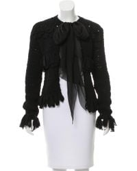 Chanel - Black Silk Tie-accented Jacket - Lyst